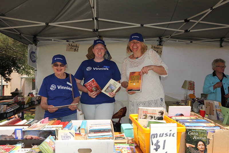 The Vinnies stall were doing a great trade in second hand books