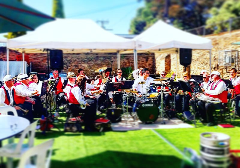 The big band played all Saturday afternoon at the P/A Hotel's laneway party