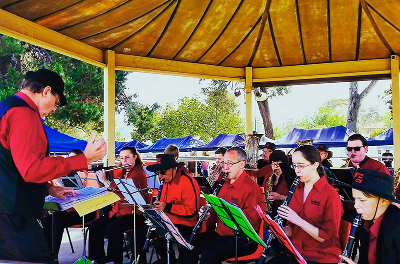 The Gawler Town Band entertained the crowd at the Village Fair