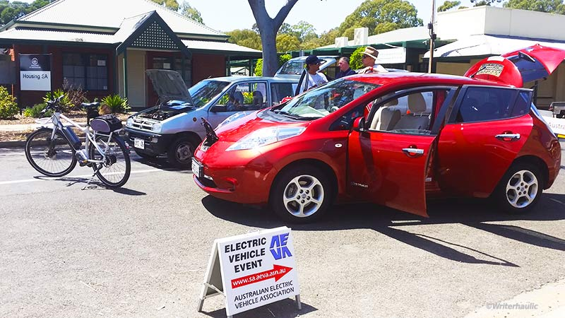 Electric cars and bikes on display