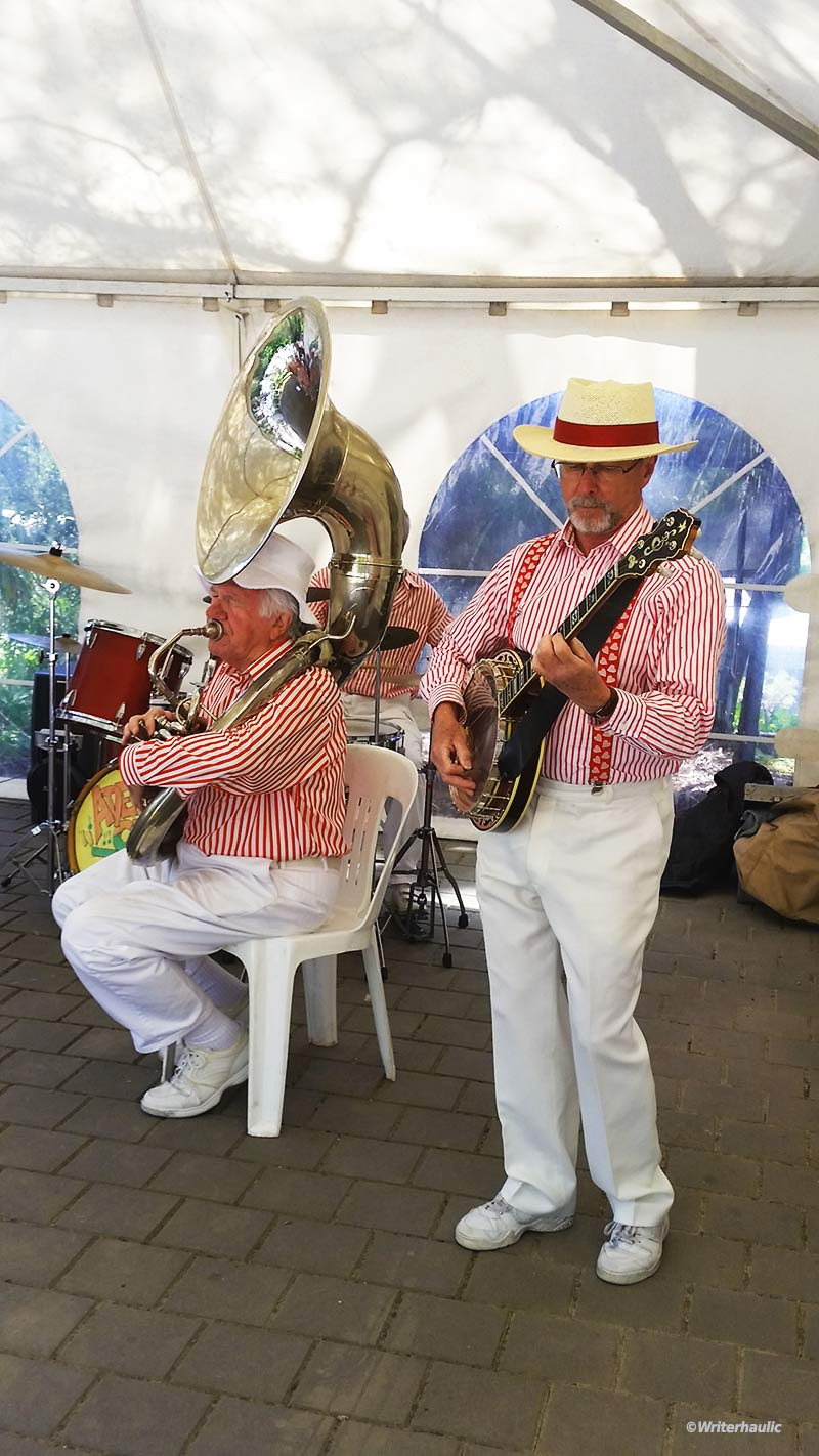 The Adelaide City Jazzmen got the party started at the Eagle Foundry B&B on Sunday