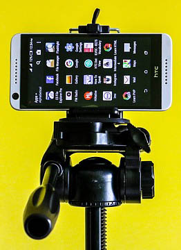 HTC Phone on a tripod