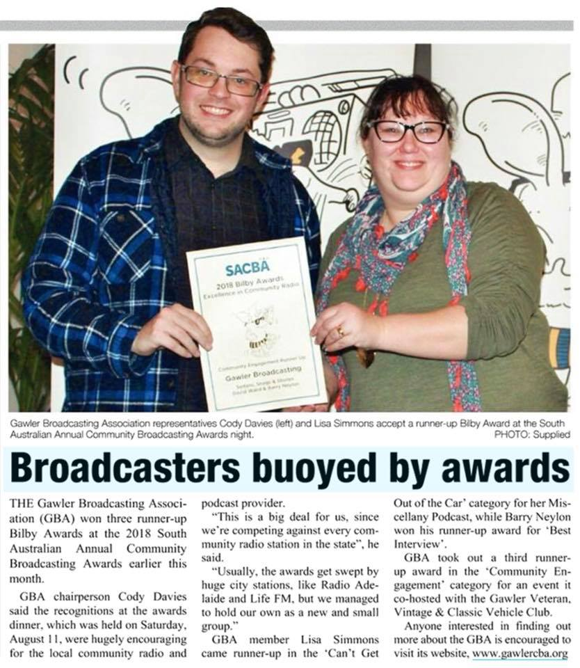 Article in The Bunyip regarding our SACBA awards