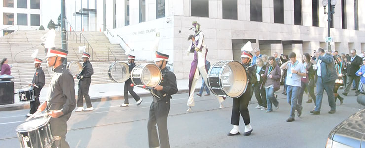 ... we were led by a marching band through the streets of New Orleans.