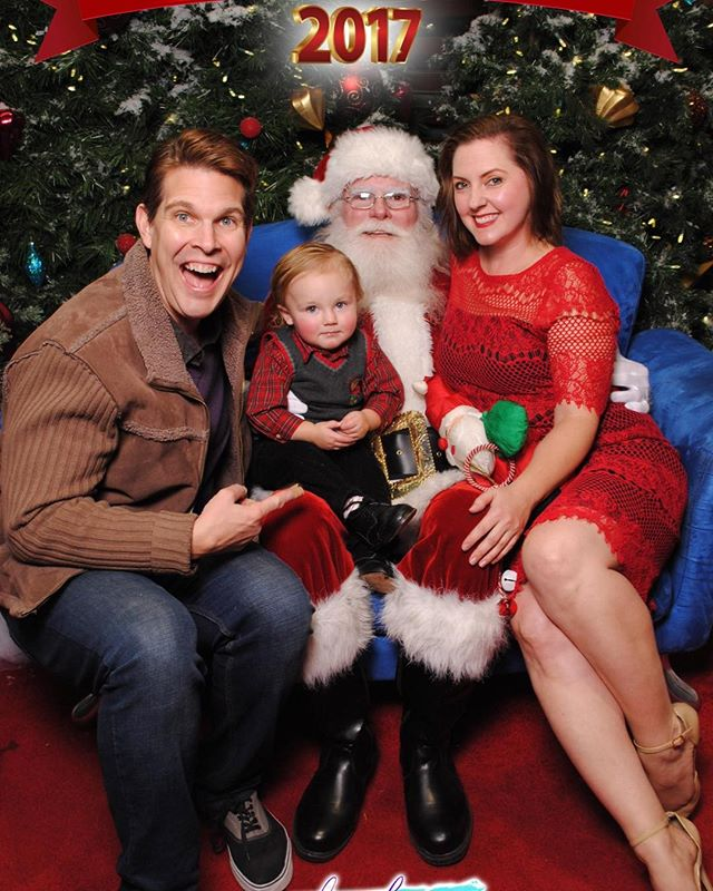 Should I be concerned? @fancycomedy is a little too friendly with the man-in-red! #santa #babyssantapic #brianvermeire #briguycomedy #thejacksonasher #jacksonasher #kristinahughes916 #merrychristmas