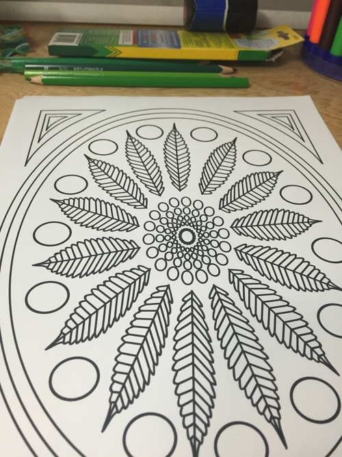 Marijuana Leaf Coloring Page