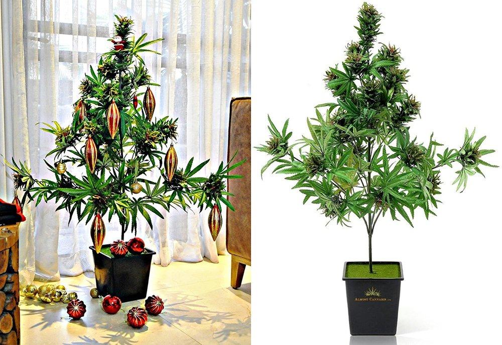 fake cannabis christmas tree