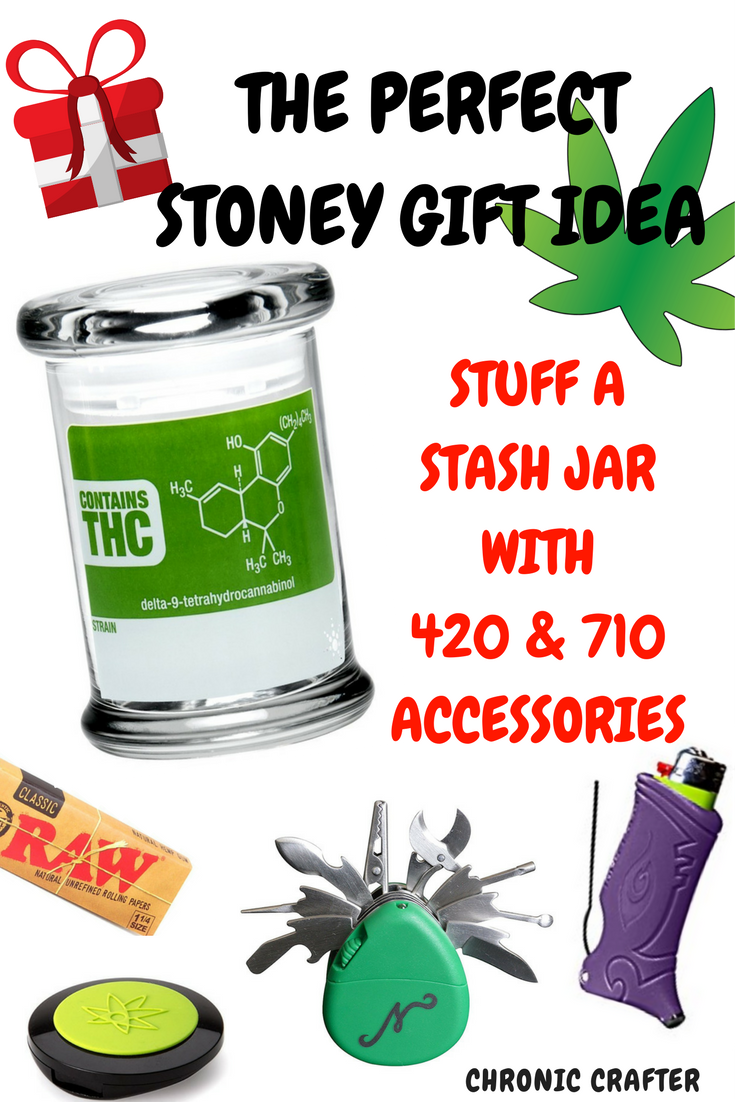 Unique Stoner Gift Idea Stuffed Stash Jar with Weed Accessories
