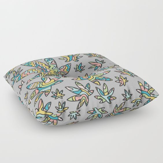 Cannabis Leaf Covered Floor Pillow.jpg