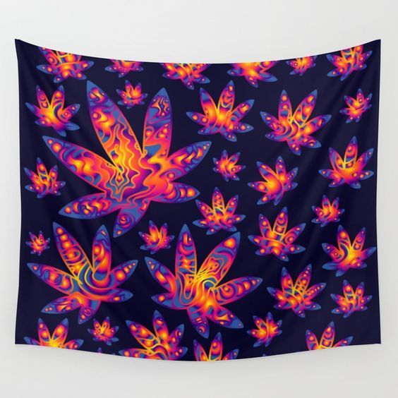 Psychedelic Cannabis Leaf Wall Tapestery Stoner Home Decor.jpg