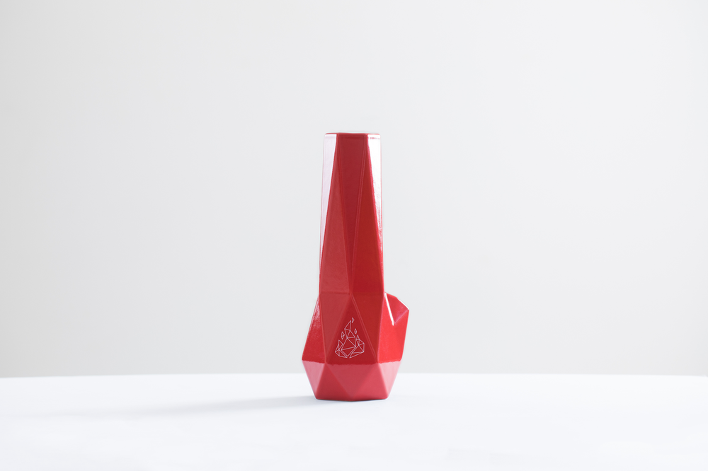 Red Ceramic Bong the Hexagon by Brnt