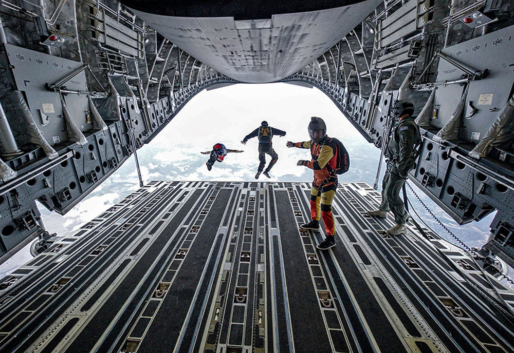 Skydiving out of a C17 Globemaster, by Mariska Folley. Image courtesy of Kian Bullock.
