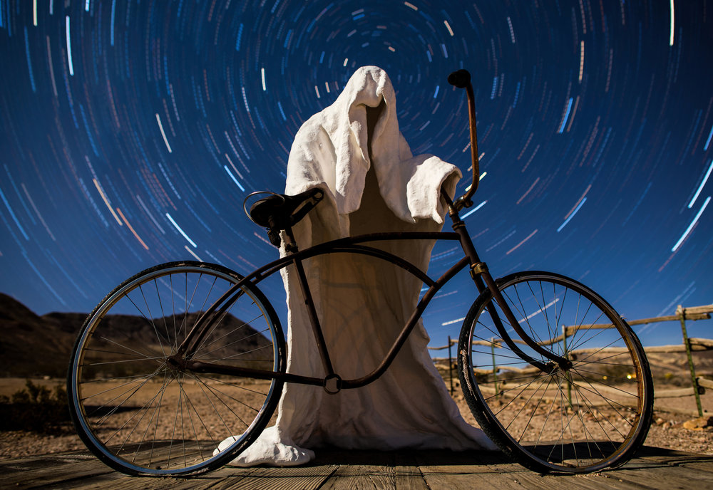 Rhyolite Ghost Town, USA, star trail photography, by Dmitry Word