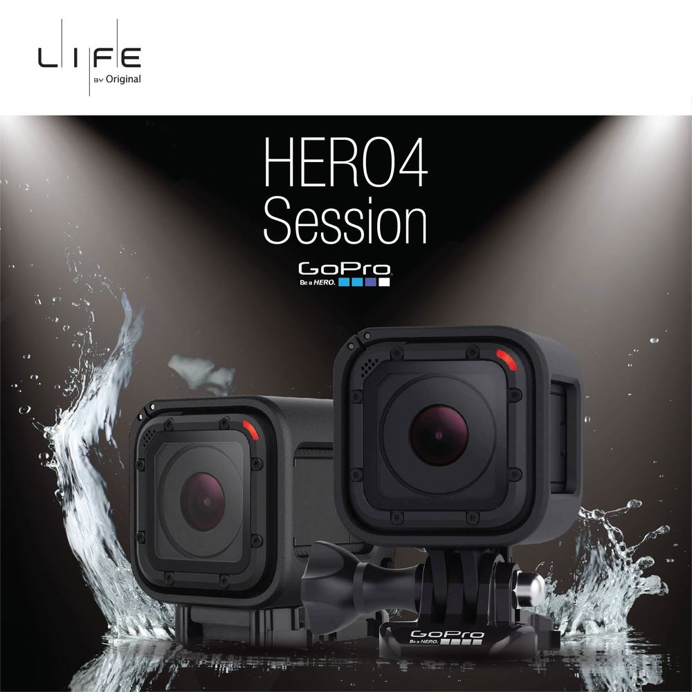 防水迷你全能攝錄機 – GOPRO HERO4 SESSION   GoPro HERO4 Session攝錄機比傳統GoPro細50%,但絲毫不減其拍攝畫質及照片像素,能夠攝錄高達1440p及100fps的短片﹑8百萬像素的相片,慢動作播放及連橫快拍都游刃有餘。防水性能及多款GoPro支架可配合你上山下海的活動,任何場合都可以盡拍一番。   SMALLEST WATERPROOF GOPRO – GOPRO HERO4 SESSION   Even though GoPro HERO4 Session is 50% smaller than other GoPro cameras, its up to 1440p videos and 8MP photos are as stunning as ever. Slow-motion videos are enabled by the 100fps high frame rate recording, and burst photos are taken at 10 frames per second. It is waterproof and can be equipped with different GoPro mounts and gear. A perfect choice for many of your daily activities, visit Life by Original for more information.
