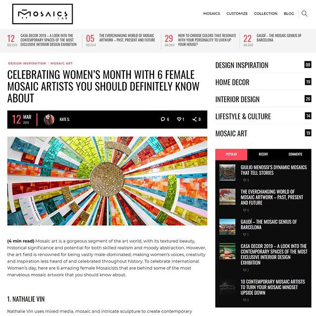 "For International Women's day, Mosaic Lab decided to feature 6 women mosaic artists and I am very honoured to be featured among these amazing creators! Two of these artists had a real impact on me and my work, they inspired me to find my own way and opened my eyes to endless creative possibilities.  Sonia King with her visual ""Think out of the box"" and pioneering modern designs and Emma Biggs for her visual and intellectual approach to this medium and art in general.  A great choice of 6 women artists covering the medium of mosaic in such different ways! Link in bio.  @mosaics.lab  #mosaic #mosaicart #art #women #womensday #internationalwomensday #creator"