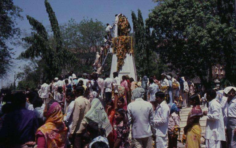 This is the celebration of Dr Ambedkar Jayanti in Poona, where a lot of people gather at his statue in Camp to pay their respects. I'm not in this picture but I would also go and pay my respects by putting a garland round his neck. It was a rather precarious ladder I had to climb. If we gave public talks on festival days like Ambedkar's birth or death anniversary, or the anniversary of his conversion, these programs would often be held near the local statue of Dr. Ambedkar, and an important part of the programs would be garlanding the statue.