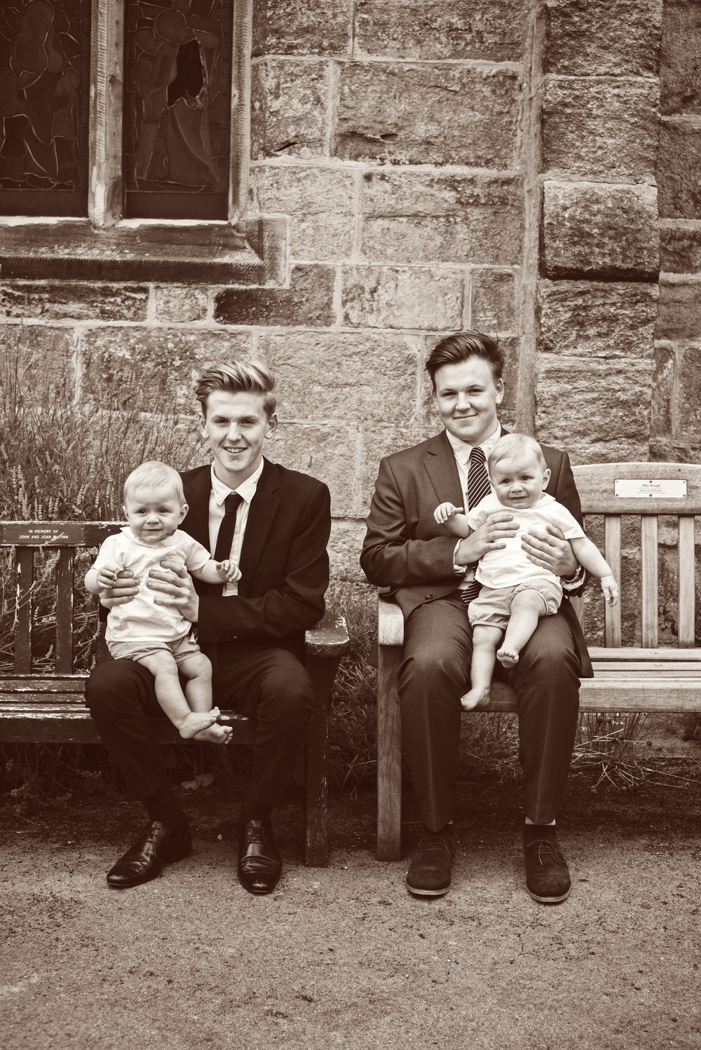Two out of the three sets of twins present on the day of the Christening. Brothers all four, separated by years, but together and looking handsome for photos to commemorate H & W's special day.