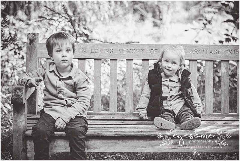 Two fellas just passing time on a park bench. It's a familiar English scene! On this occasion, the bench was in the grounds of Harlow Carr in Harrogate, and the two brothers were just waiting for me to get on with it and take the family portraits! Too darn cute.