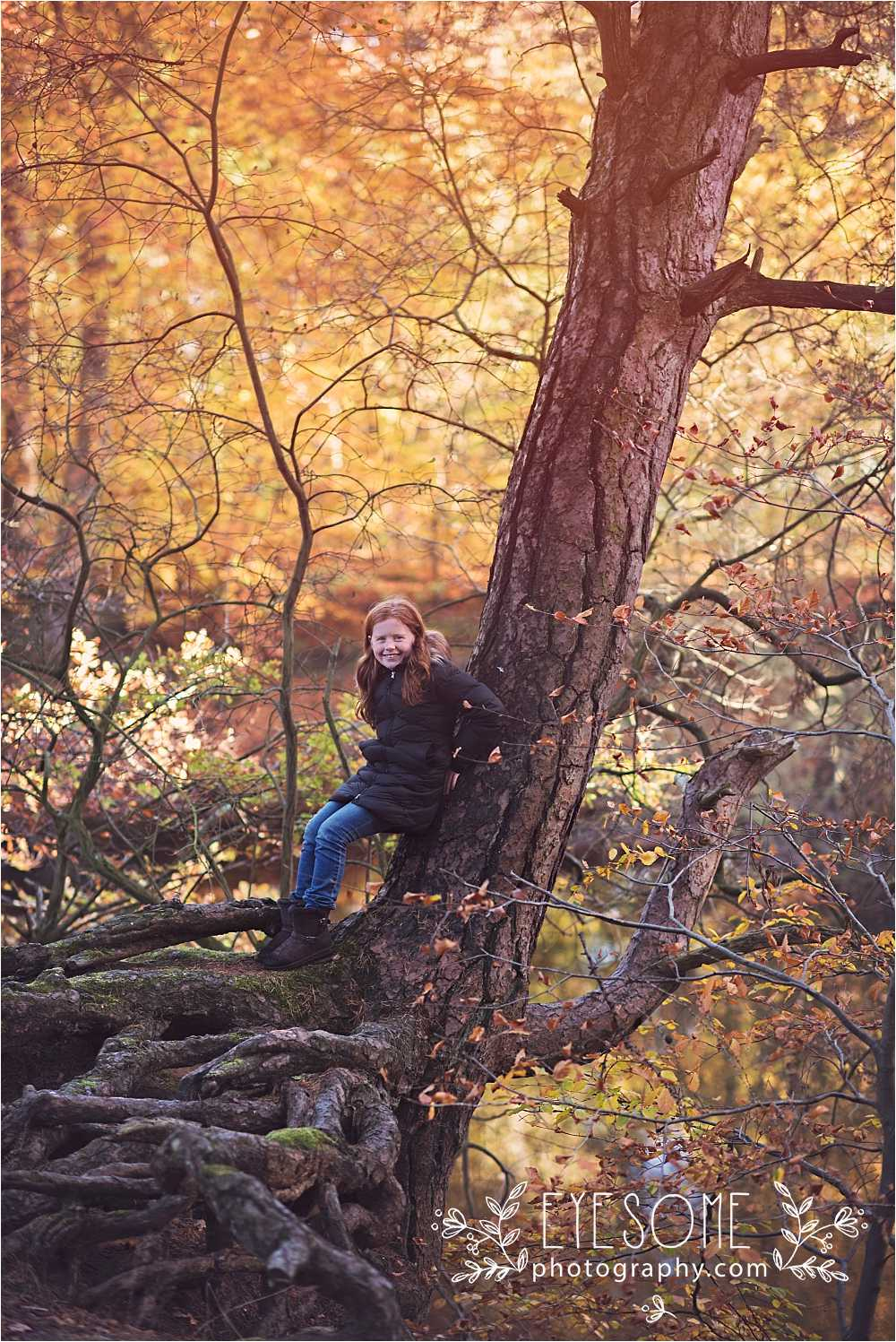 Daughter C finds the best tree in the world to climb on. Go girl.