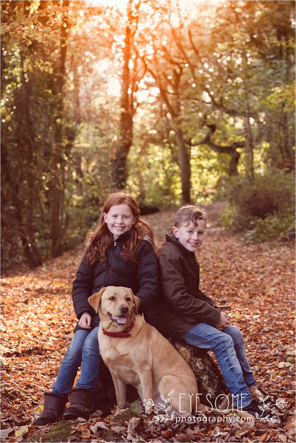 Embracing the autumnal leafy forest floor, Barney sits for the perfect 'me and my dog' portrait