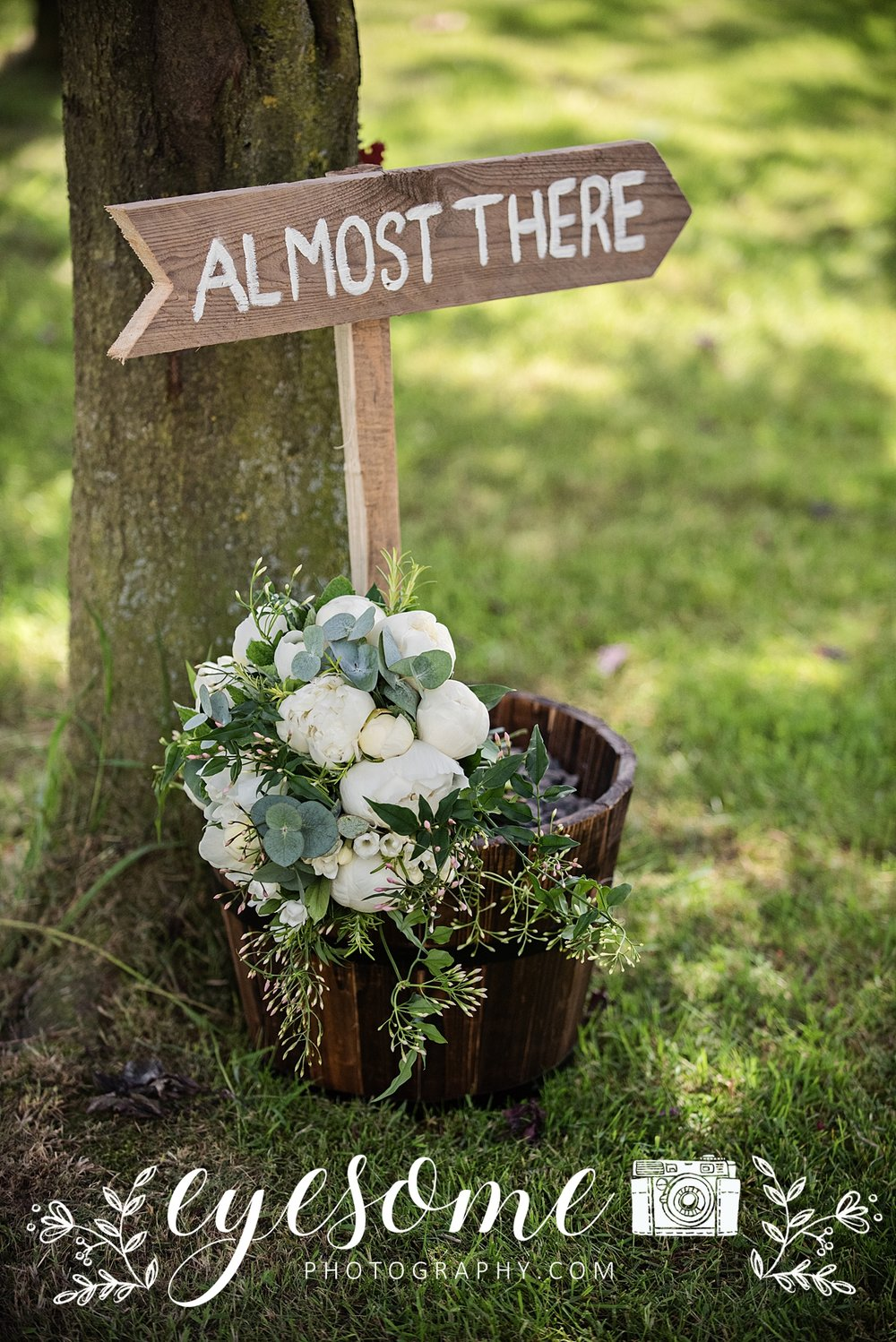too good to miss the irony in this directional sign intended for wedding guests