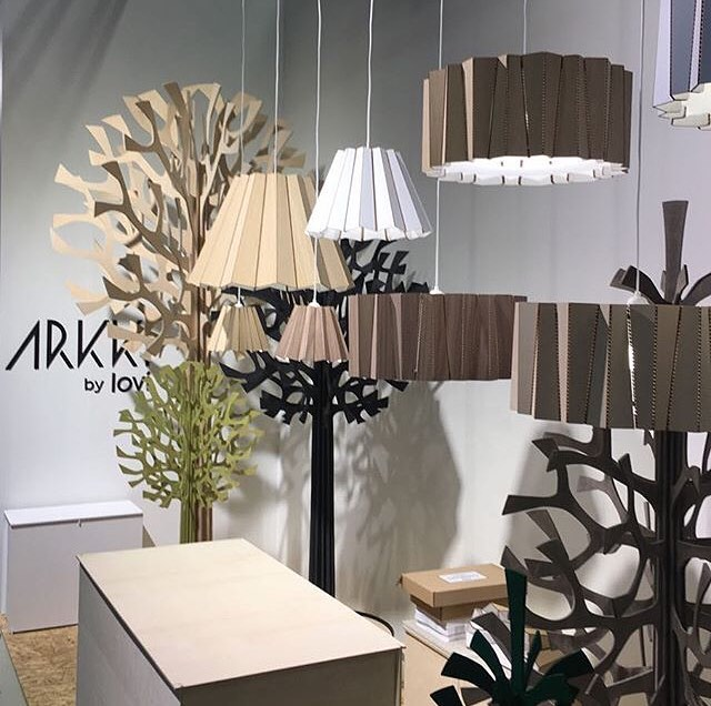 Our designs are now part of Arkki by Lovi collection. Drum and Skirt lights are shown at ID Helsinki 11.- 12.9.2018 #andbros #arkkibylovi #idhelsinki #cardboard @arkki_by_lovi