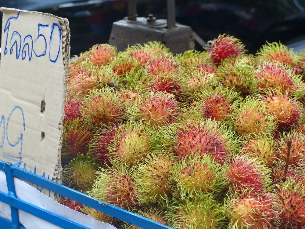 Rambutan may look dangerous, but those spikes are comically soft and peel off as easily as an orange.