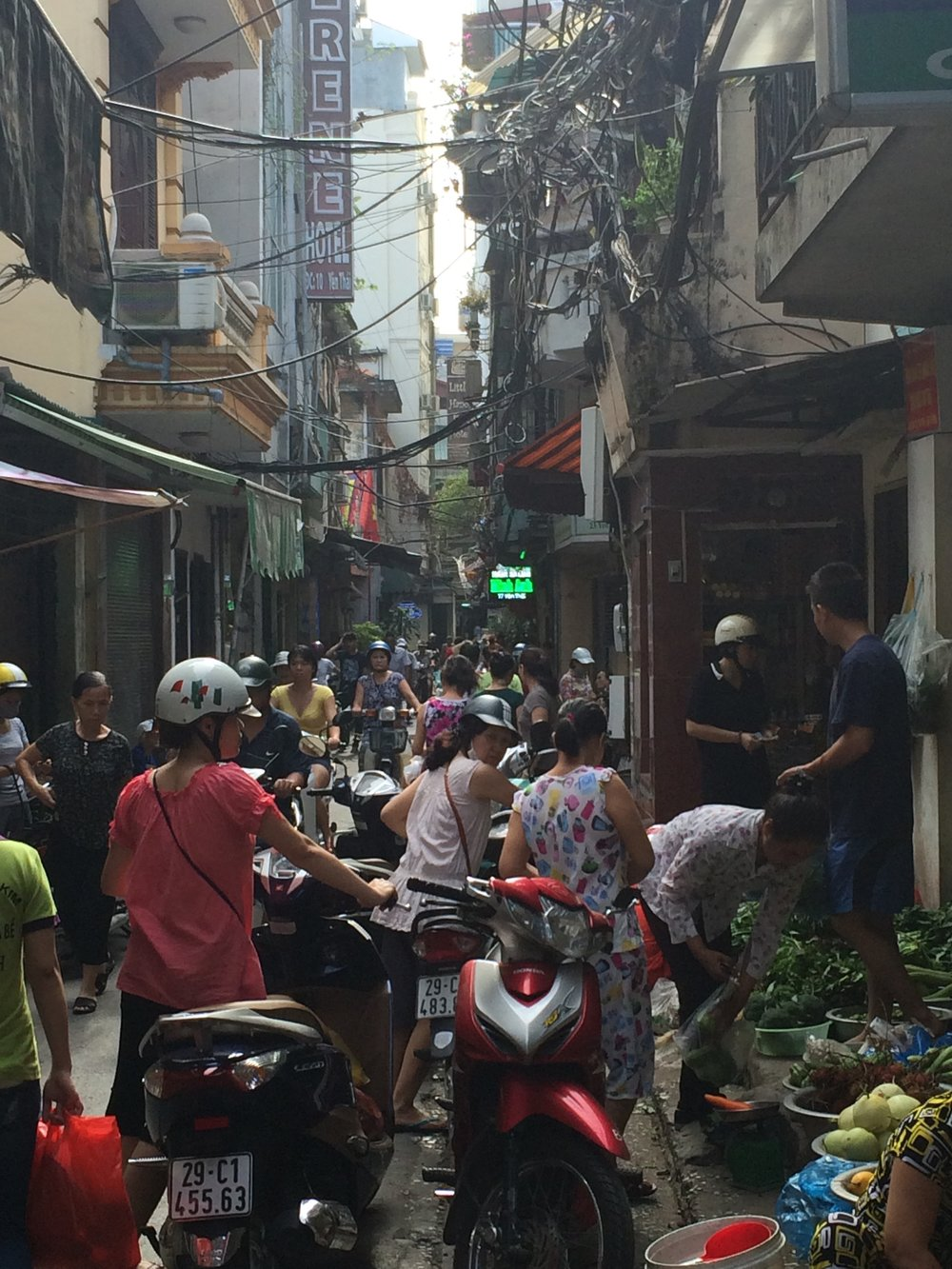 Market alley in Hanoi
