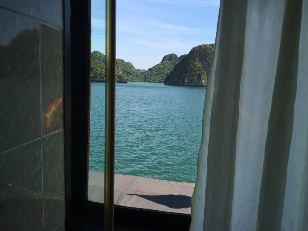 View of Halong Bay from our cabin