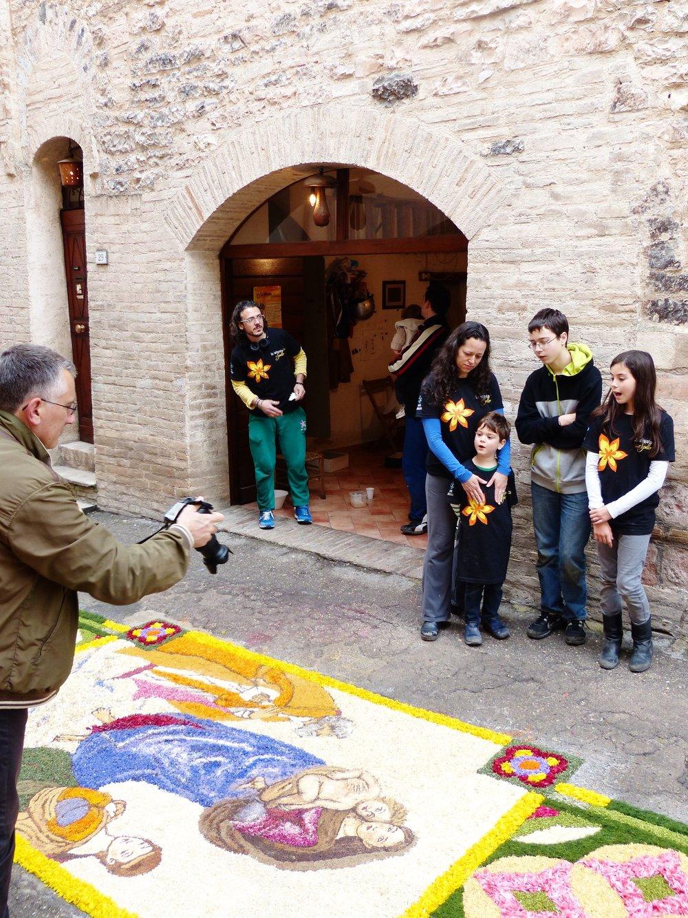 Outside Pochi, ma Buoni cantina at Infiorata in Spello, Umbria