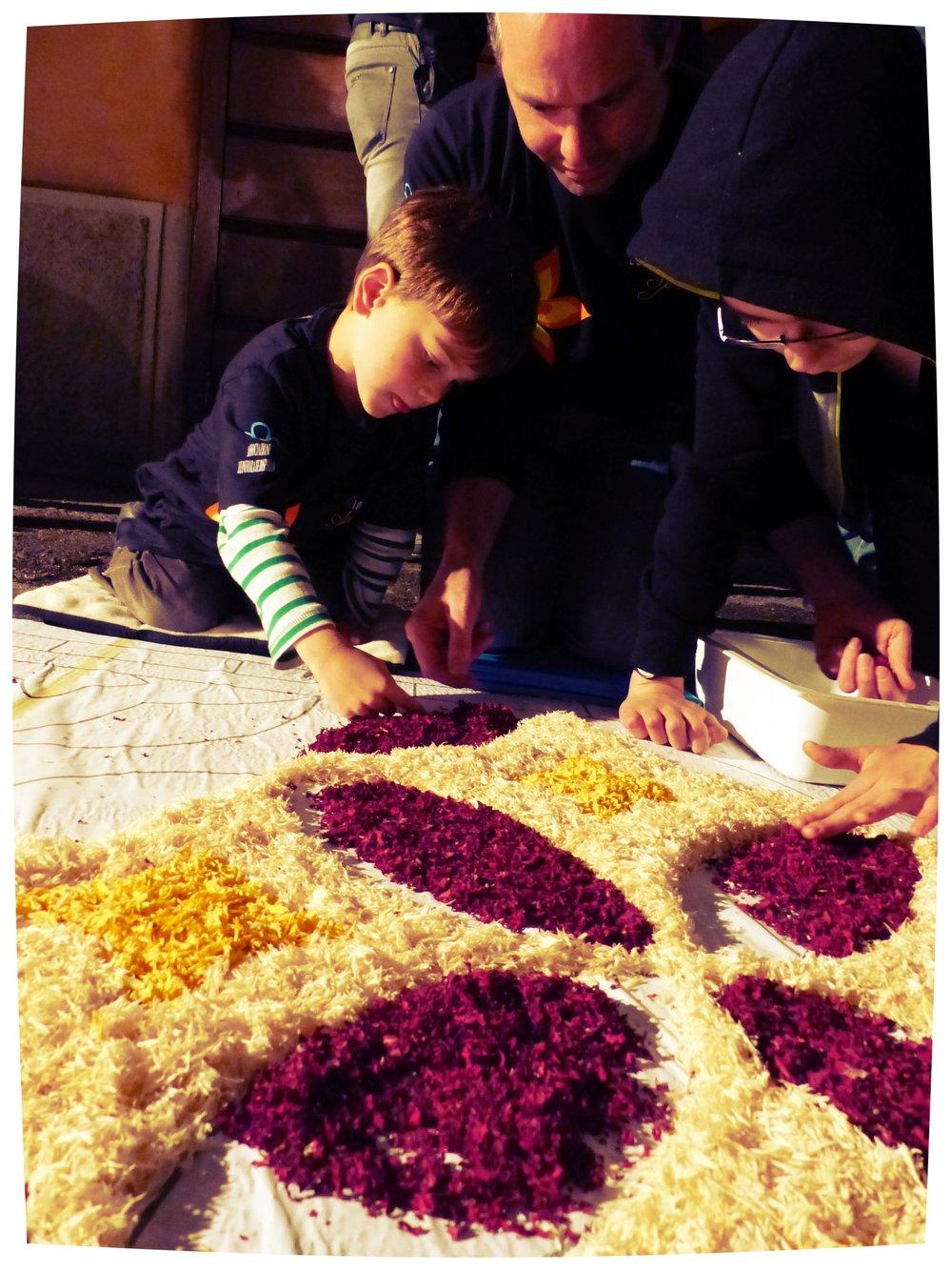 Adding more color at Infiorata in Spello, Umbria