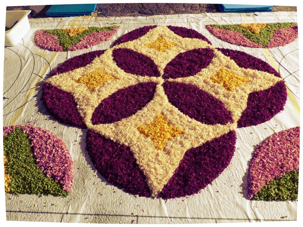 Petals all laid for Infiorata in Spello, Umbria