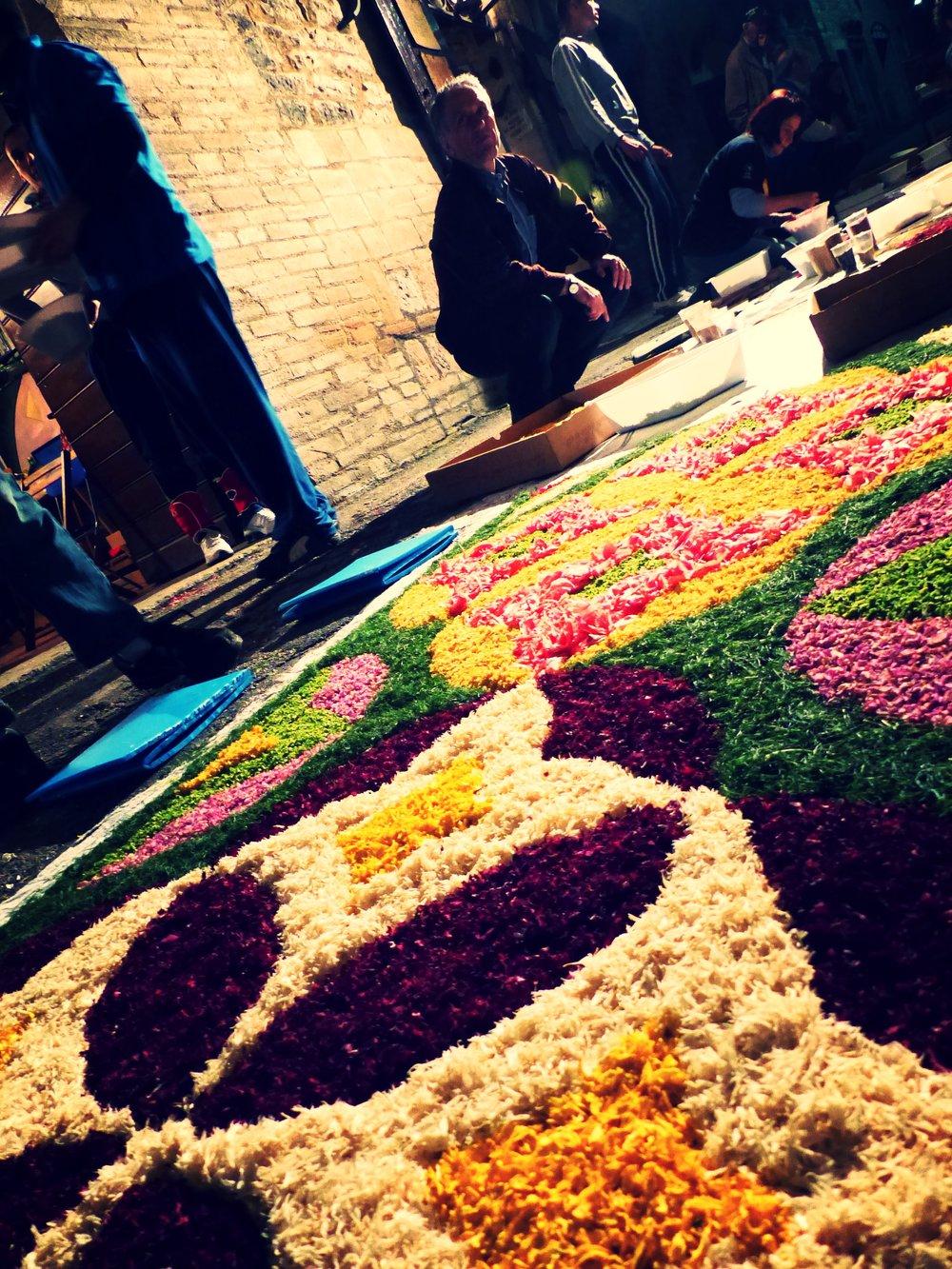 Flower carpet at Infiorata in Spello, Umbria