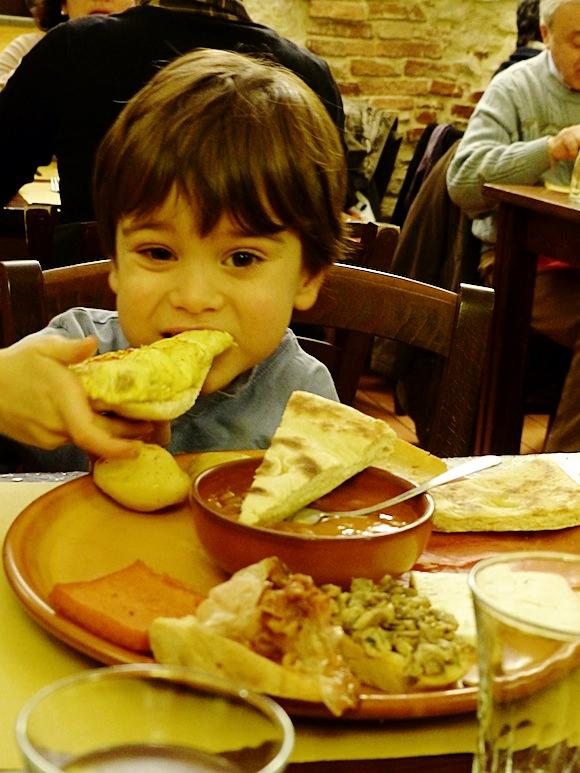 lunch in Gubbio, Umbria