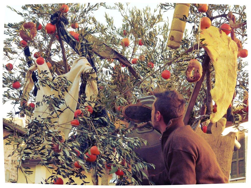 Olive tree decoration at L'Oro di Spello, Umbria