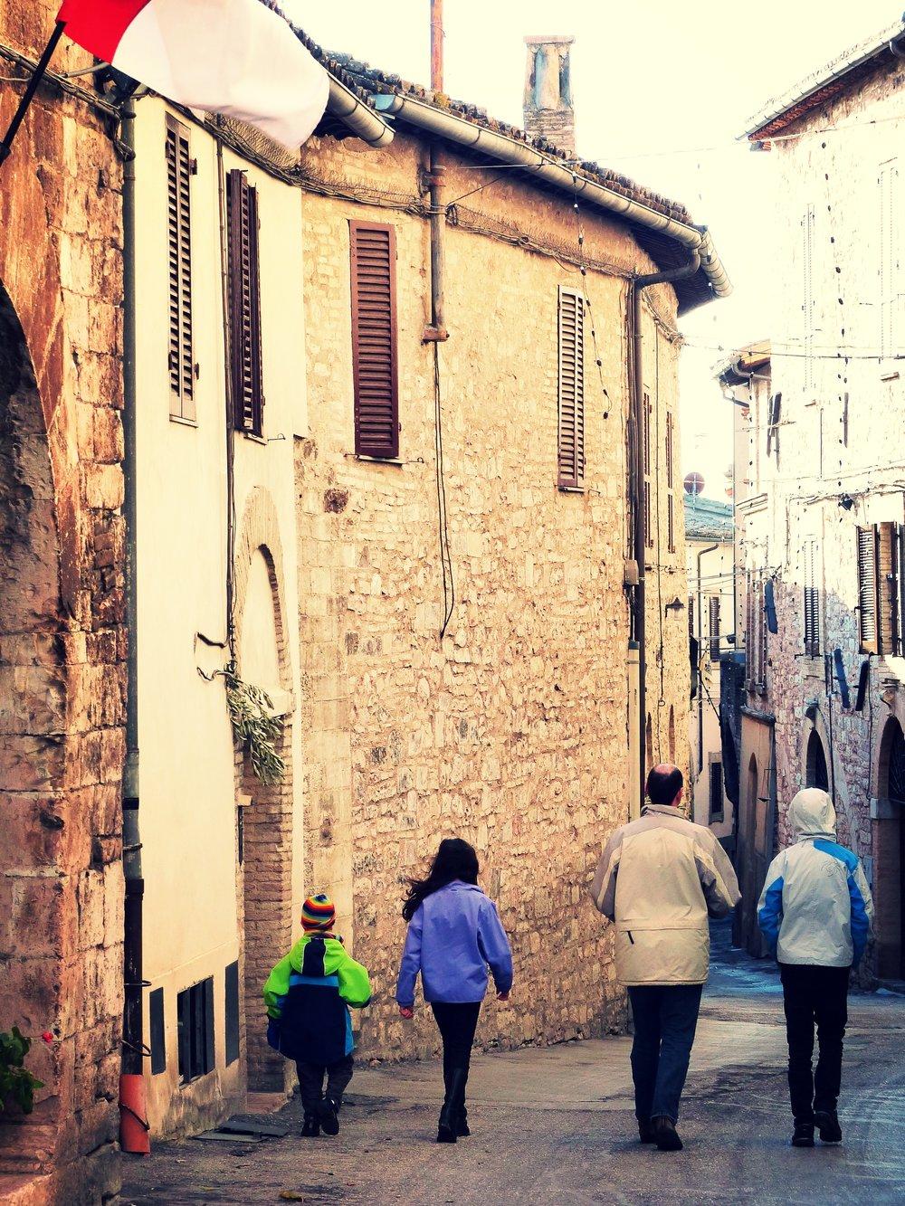 Family at L'Oro di Spello, Umbria