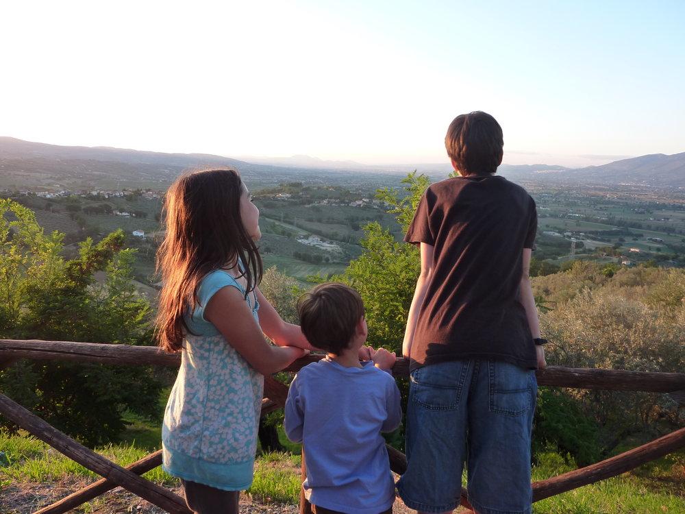 Kids in Montefalco, Italy