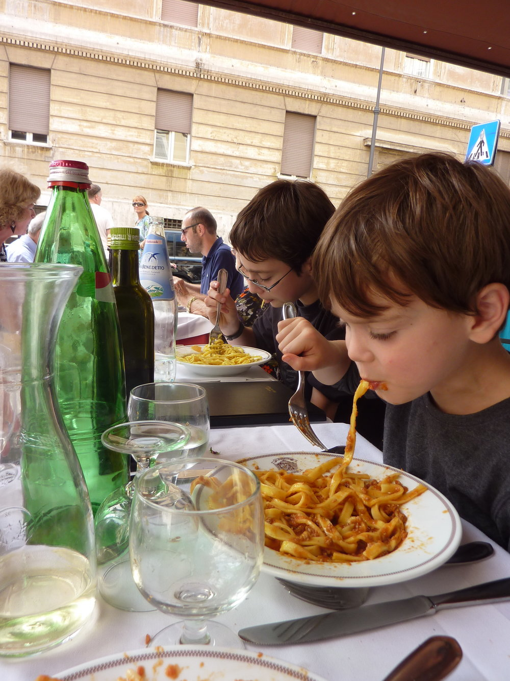 Kids eating in Rome, Italy