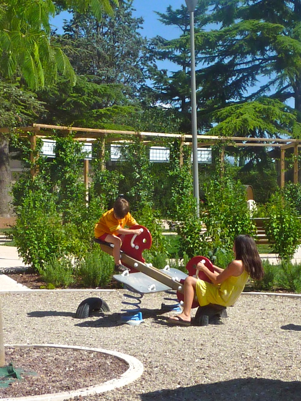 Kids playing at the giardino in Spello, Umbria, italy