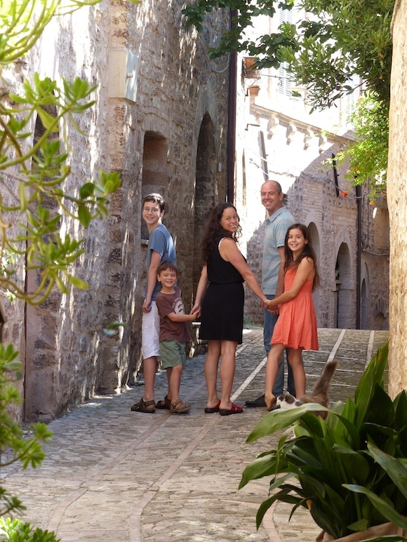 Family in Spello, Umbria, italy