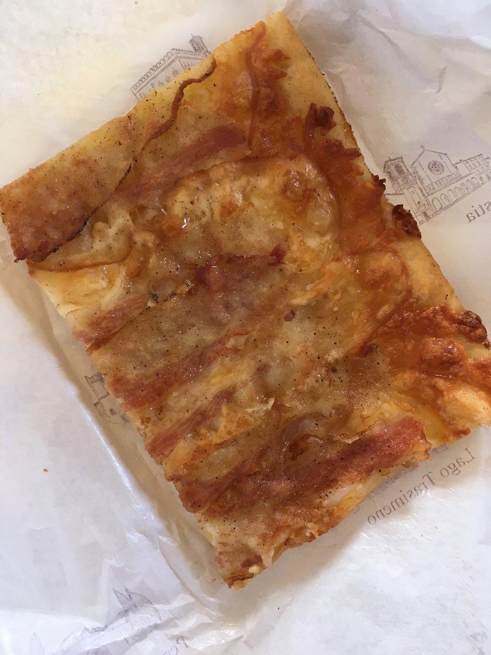 Guanciale pizza from Forno Artigiano in Spello, Umbria