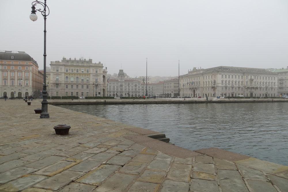 Piazza dell'Unità d'Italia from Molo Audace in winter, Trieste, Italy