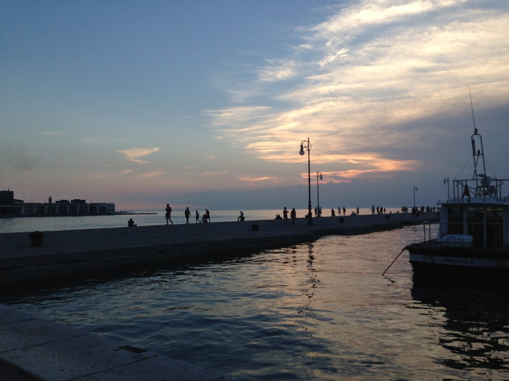 Sunset at Molo Audace in Trieste, Italy