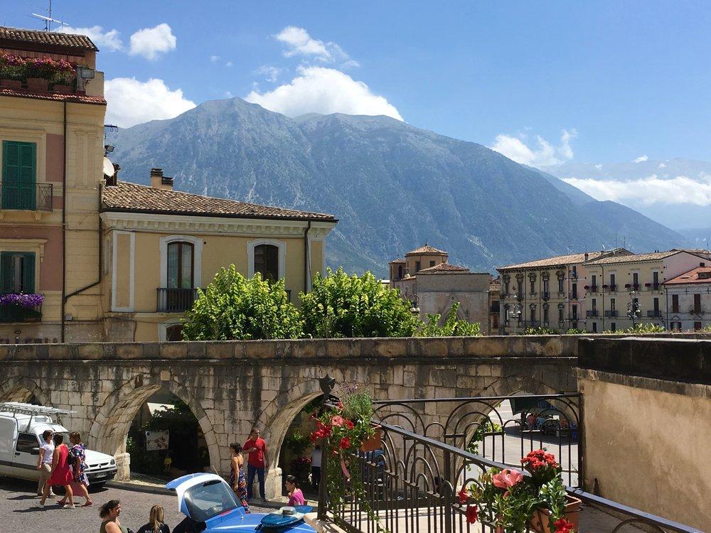 Piazza (with aqueduct) in Sulmona, Abruzzo