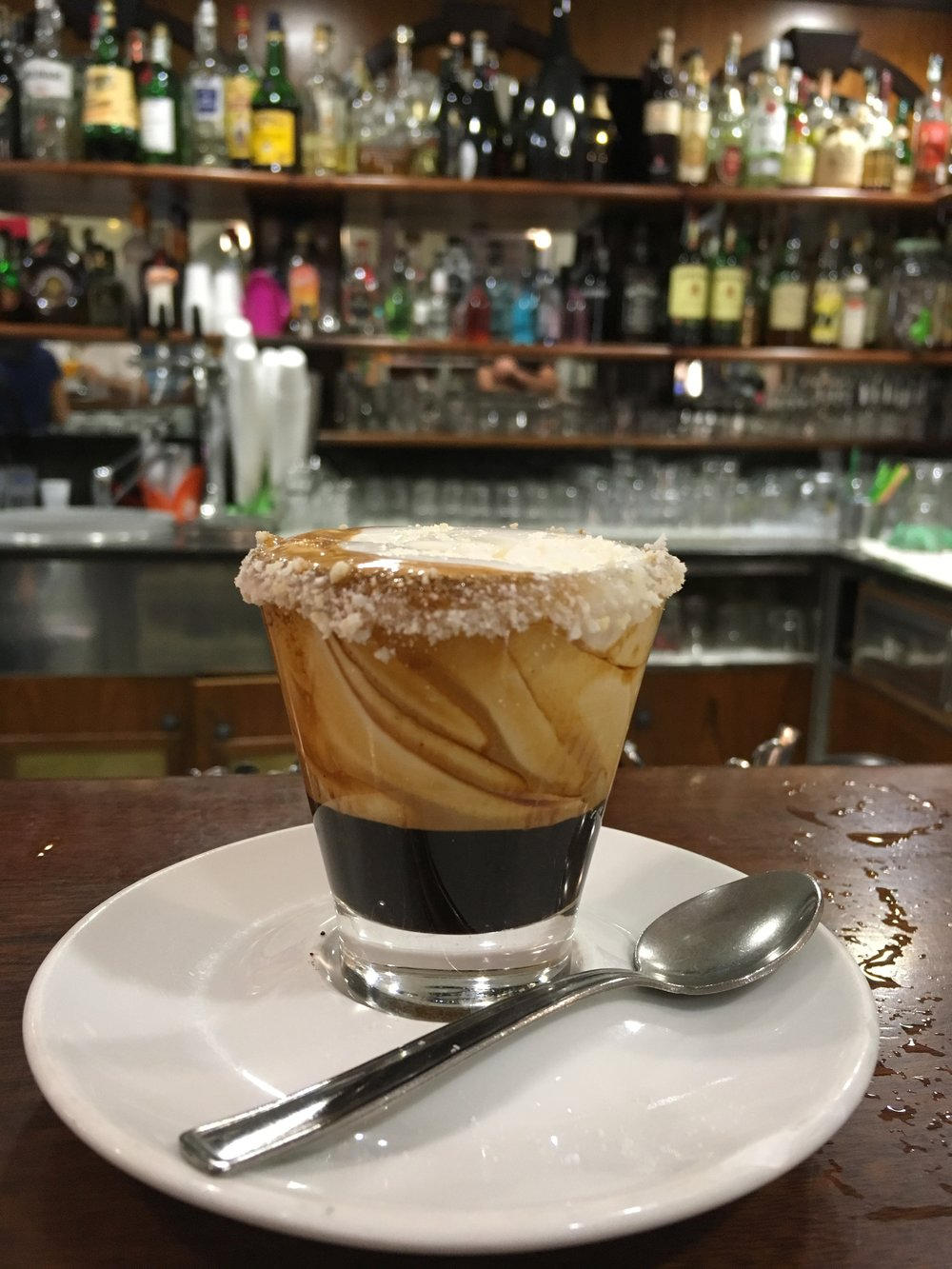 Caffetti—a treat only found at Caffe Ovidio in Sulmona—espresso topped with a flavored cream with crushed confetti. Way tastier than it should be.
