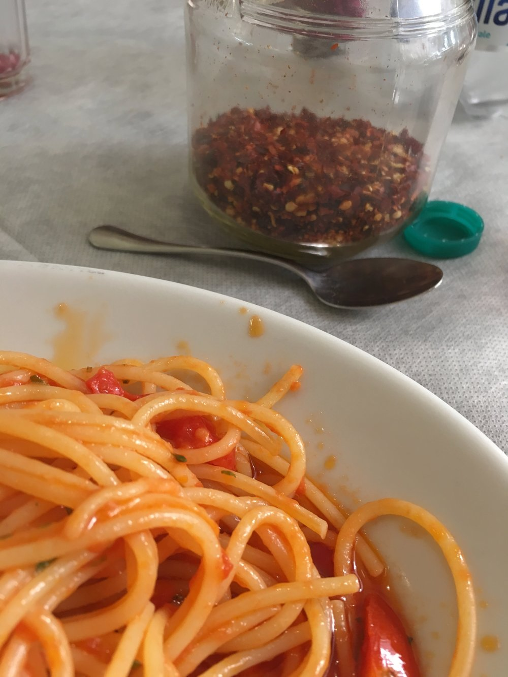 Pasta ready for pepperoncino in Sulmona, Italy