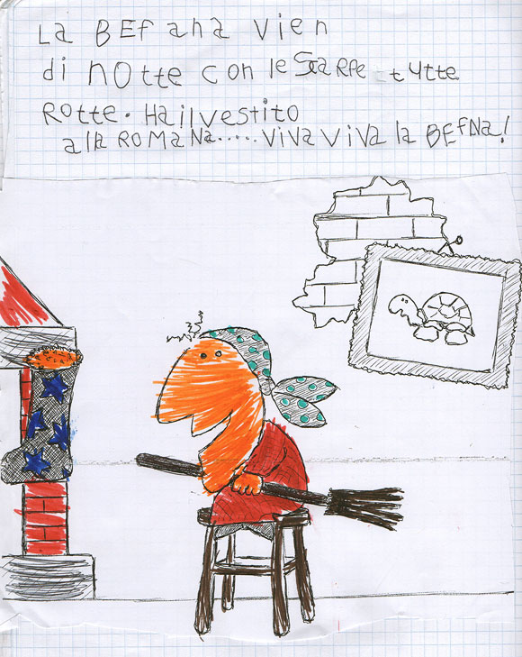 Gabe's schoolwork, which includes La Befana