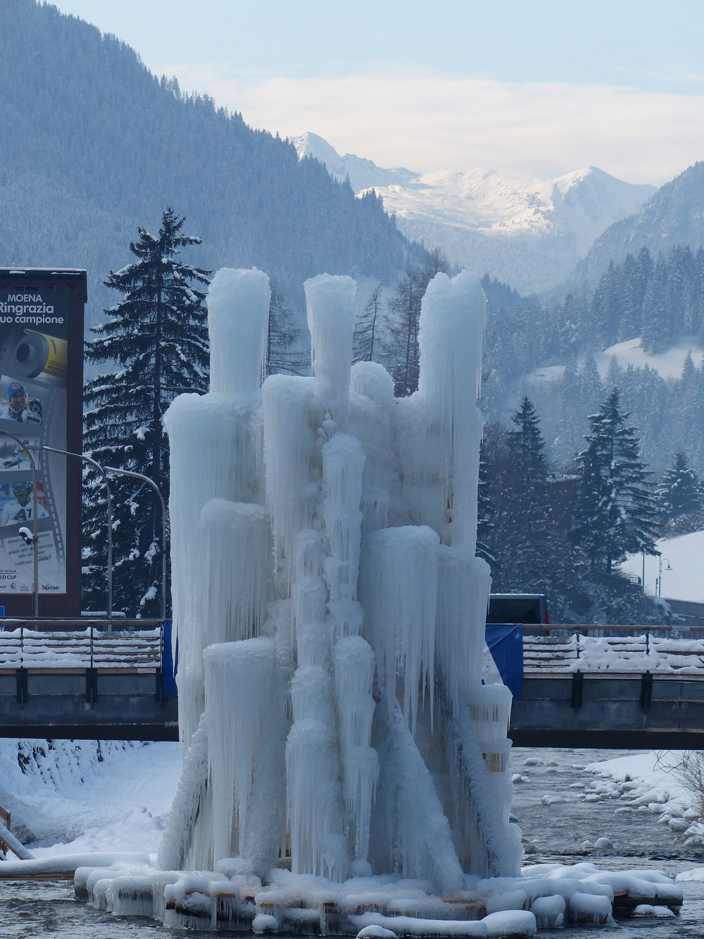 Ice art (constantly changing due to the water trickling from the top) in Moena, italy