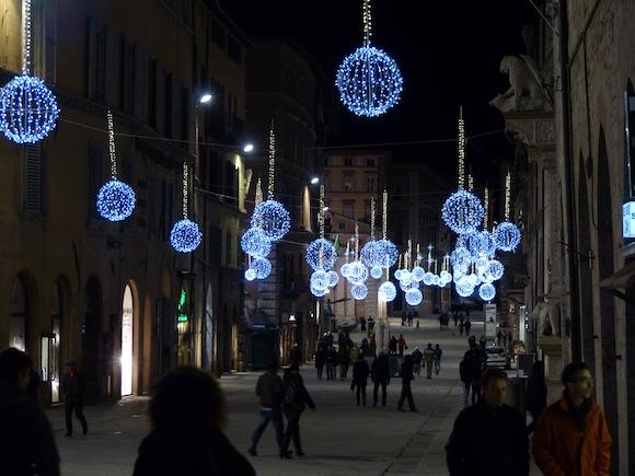 Christmas lights in Perugia, Umbria