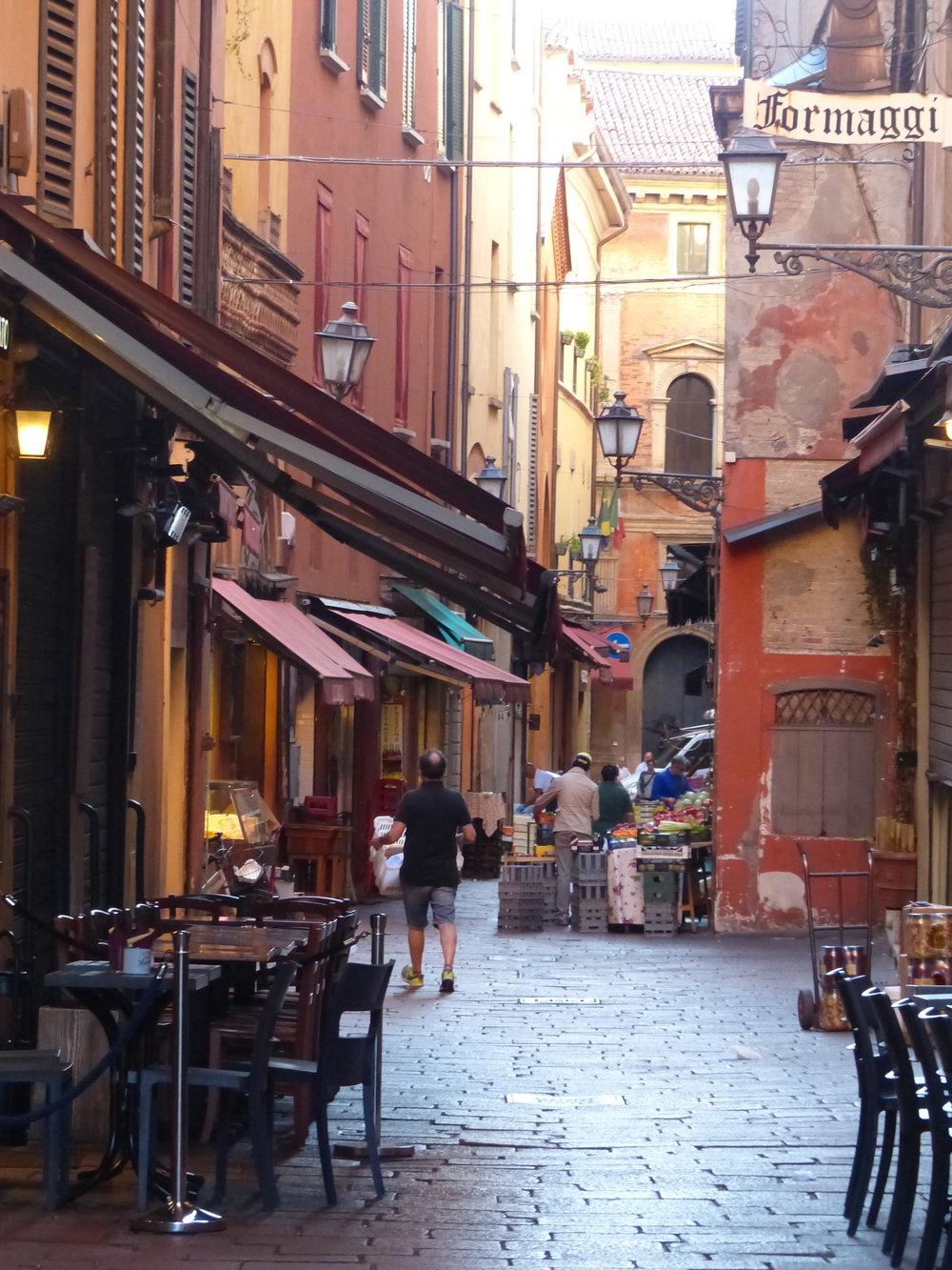 Market street in Bologna, Italy